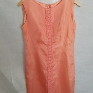 Women's 1950s Peach Chiffon Shift Dress